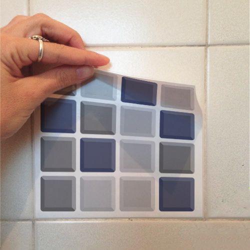 Queima de Estoque - Adesivo Destacável Pastilha para Cozinha 3D Mix Azul 20x20cm  - TaColado