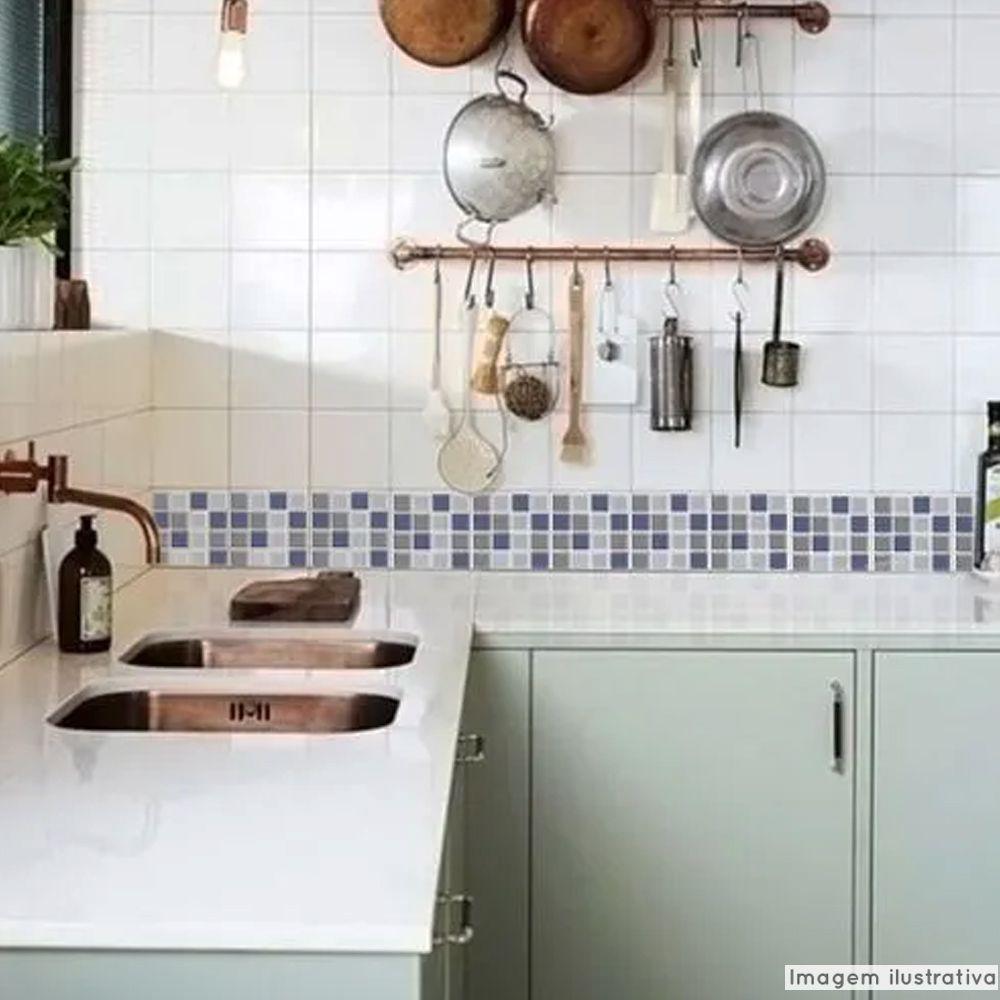 Adesivo Destacável Pastilha para Cozinha 3D Mix Azul  - TaColado