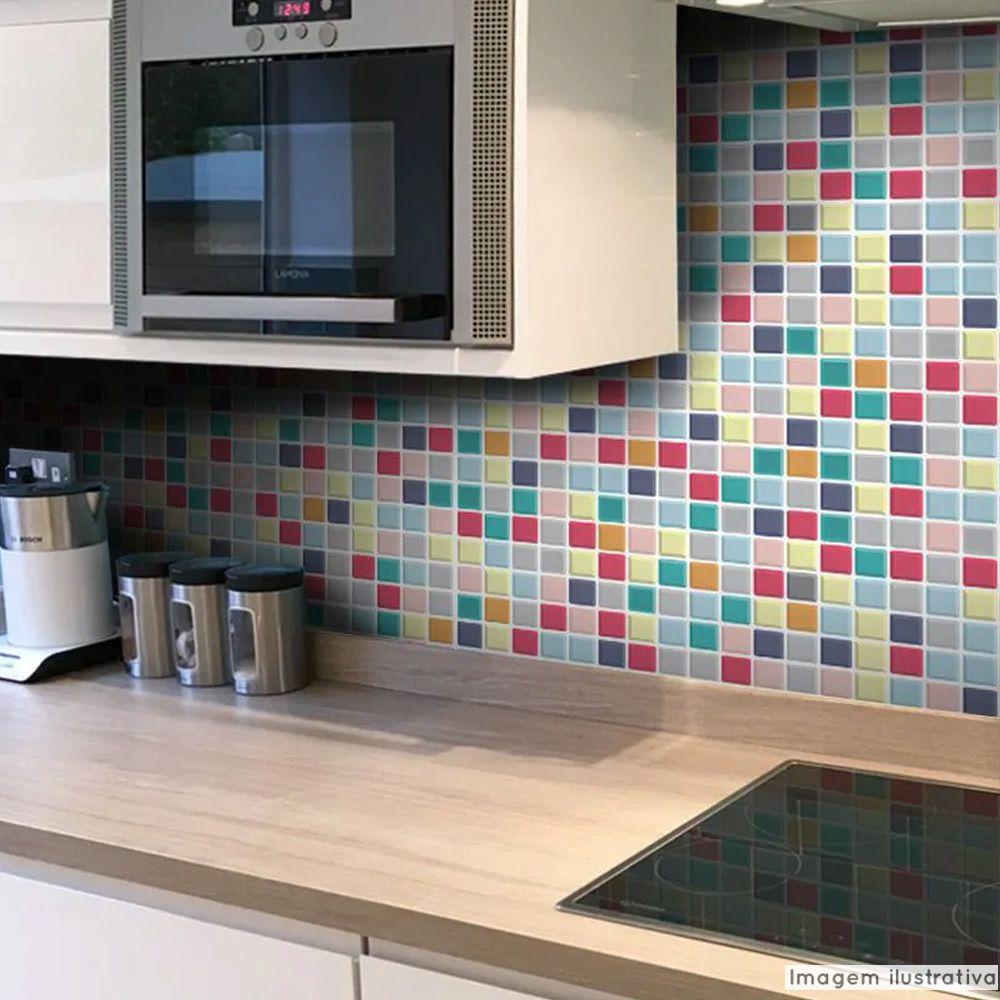 Adesivo Destacável Pastilha para Cozinha 3D Mix Color  - TaColado