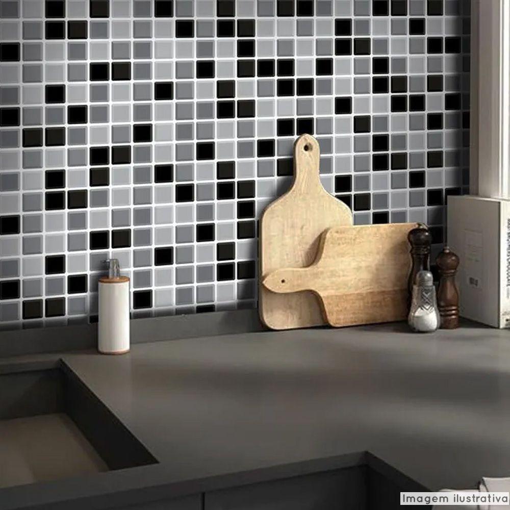 Adesivo Destacável Pastilha para Cozinha 3D Mix Preto  - TaColado