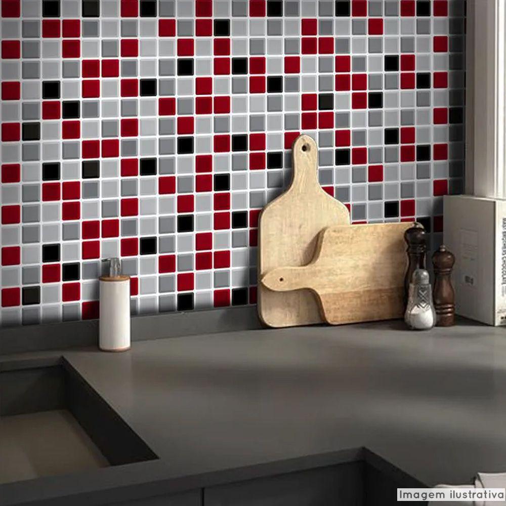 Adesivo Destacável Pastilha para Cozinha 3D Mix Vermelho  - TaColado