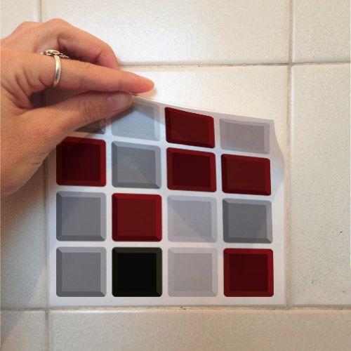 Queima de Estoque - Adesivo Destacável Pastilha para Cozinha 3D Mix Vermelho  - TaColado
