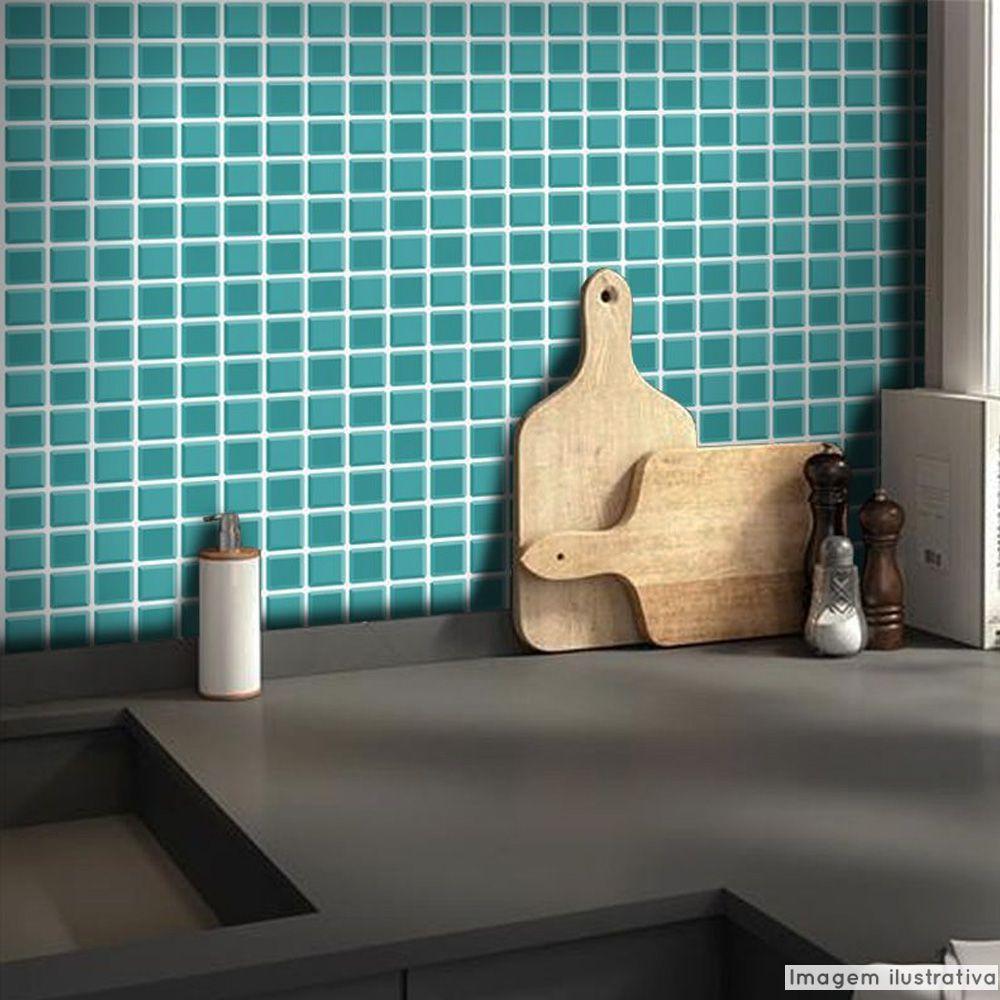 Adesivo Destacável Pastilha para Cozinha 3D Turquesa  - TaColado