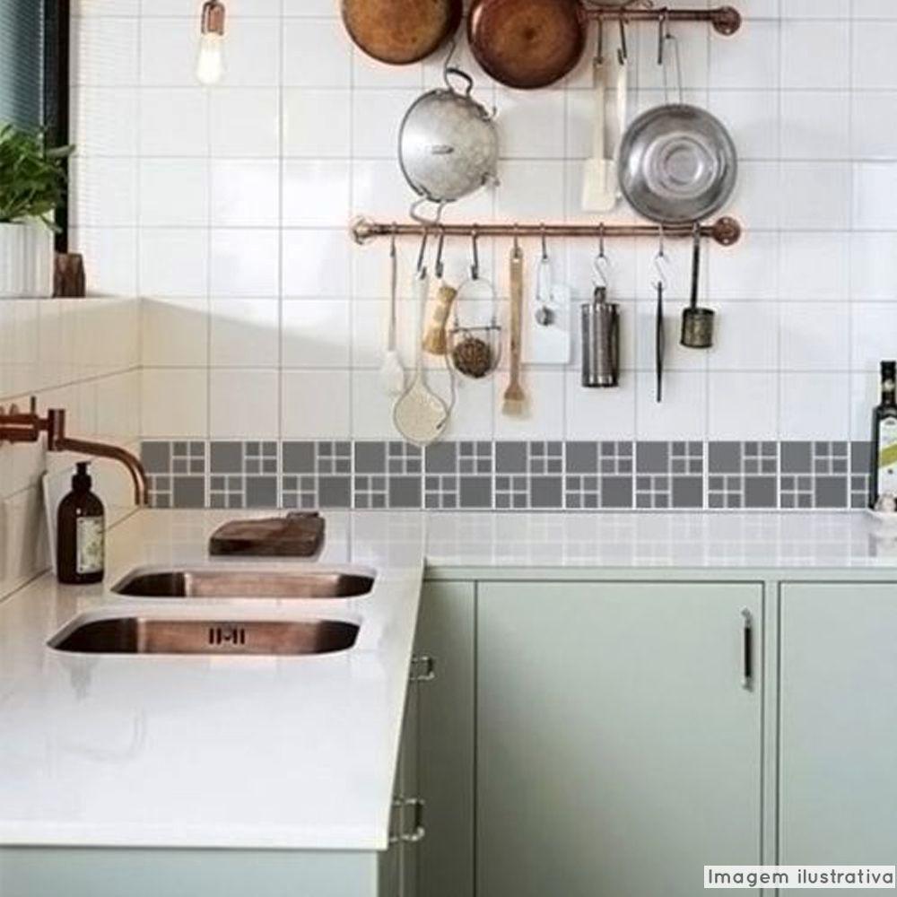 Adesivo Destacável Pastilha para Cozinha Big Grafite  - TaColado