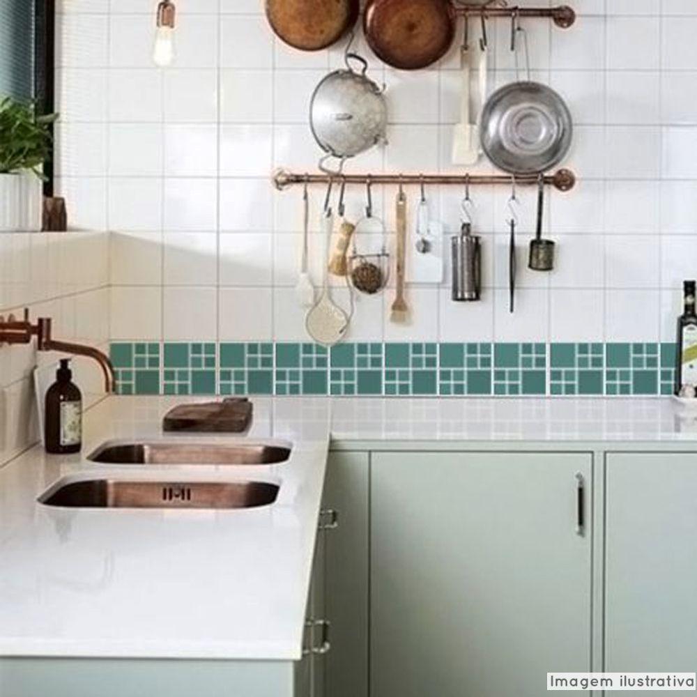 Adesivo Destacável Pastilha para Cozinha Big Turquesa  - TaColado