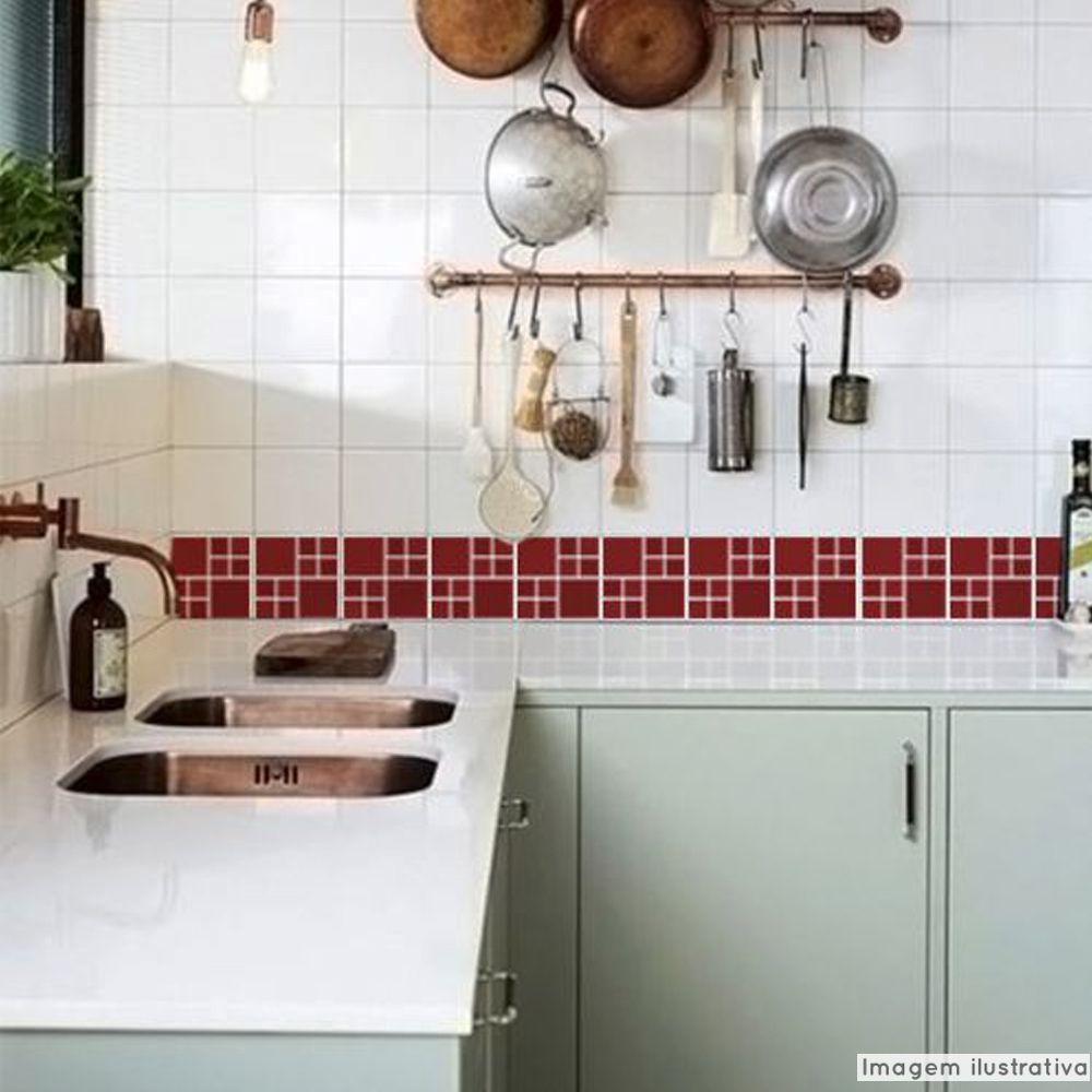 Adesivo Destacável Pastilha para Cozinha Big Vermelho Escuro  - TaColado