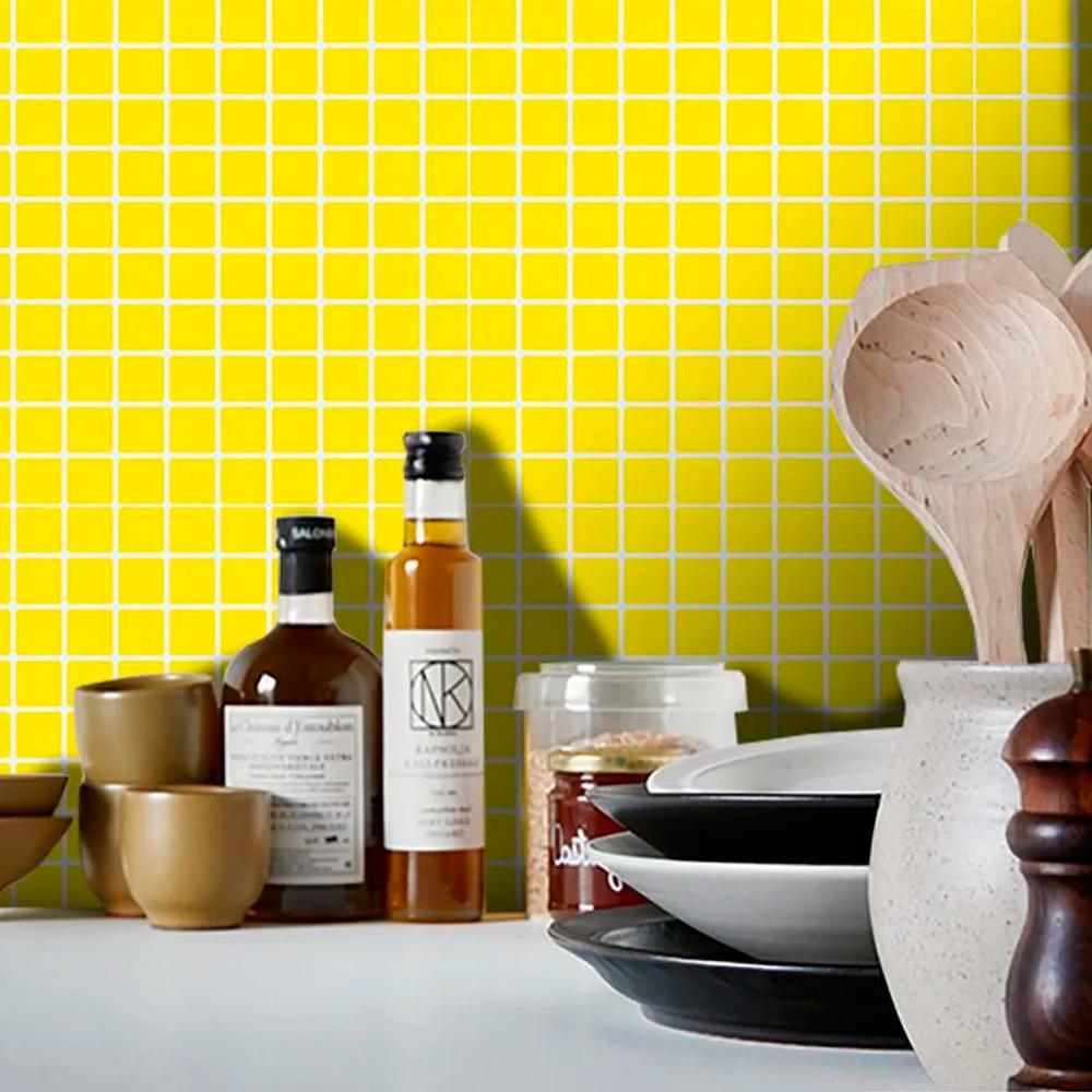 Adesivo Destacável Pastilha para Cozinha Clássica Amarelo  - TaColado