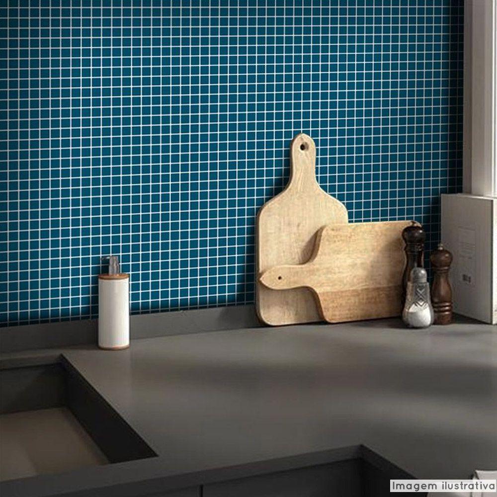 Adesivo Destacável Pastilha para Cozinha Clássica Azul  - TaColado