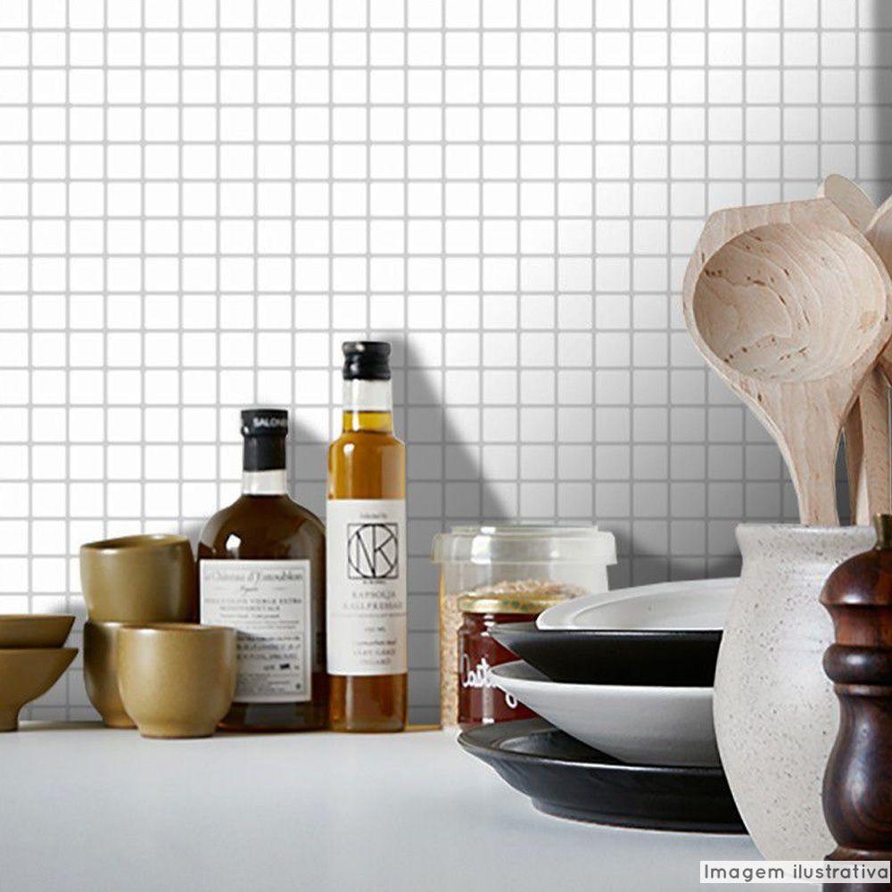 Adesivo Destacável Pastilha para Cozinha Clássica Branco  - TaColado