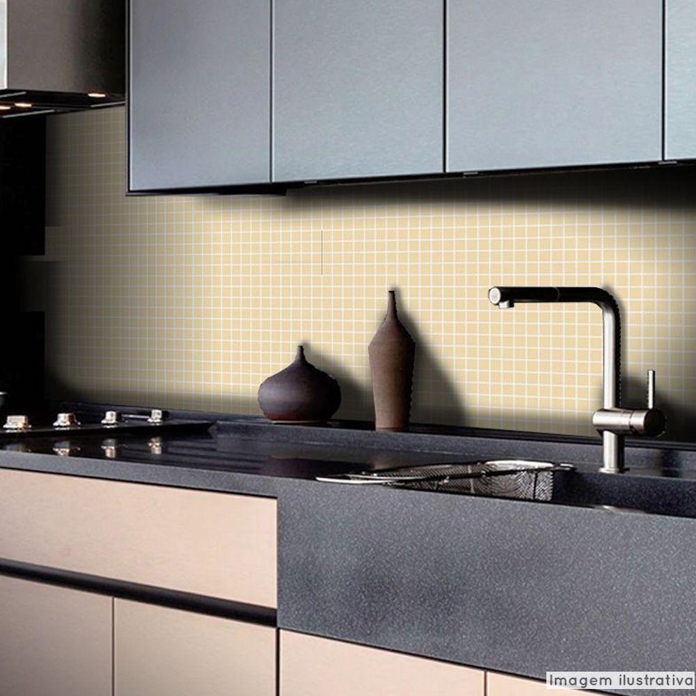 Adesivo Destacável Pastilha para Cozinha Clássica Creme  - TaColado