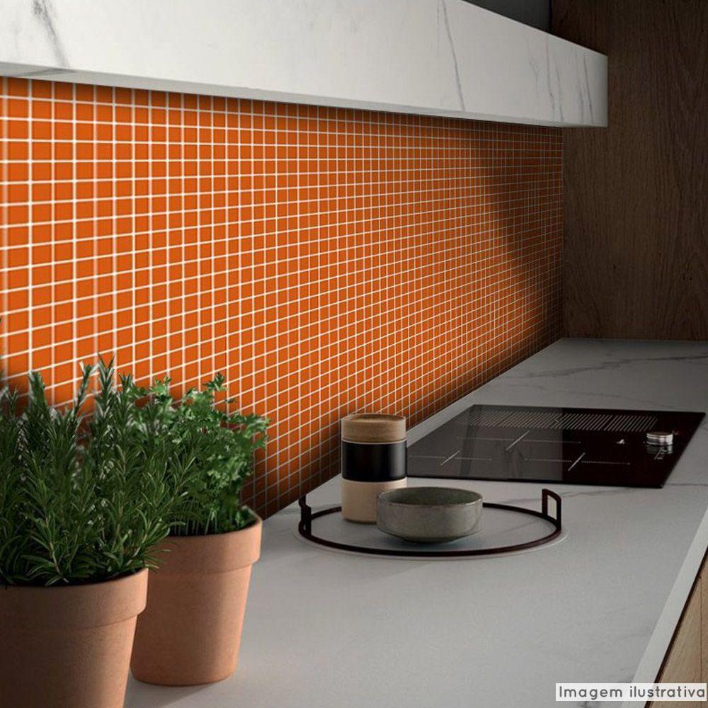 Adesivo Destacável Pastilha para Cozinha Clássica Laranja  - TaColado