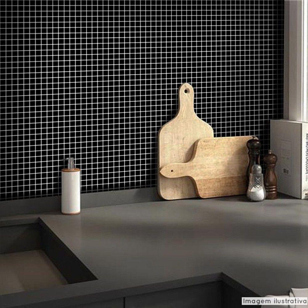 Adesivo Destacável Pastilha para Cozinha Clássica Preto  - TaColado