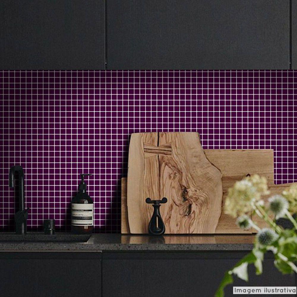 Adesivo Destacável Pastilha para Cozinha Clássica Roxo  - TaColado