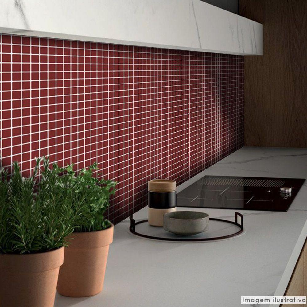 Adesivo Destacável Pastilha para Cozinha Clássica Vinho  - TaColado