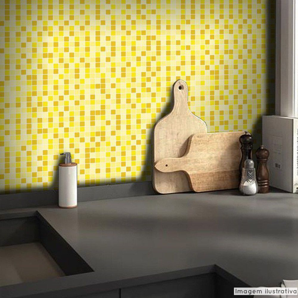 Adesivo Destacável Pastilha para Cozinha Mix Amarelo  - TaColado