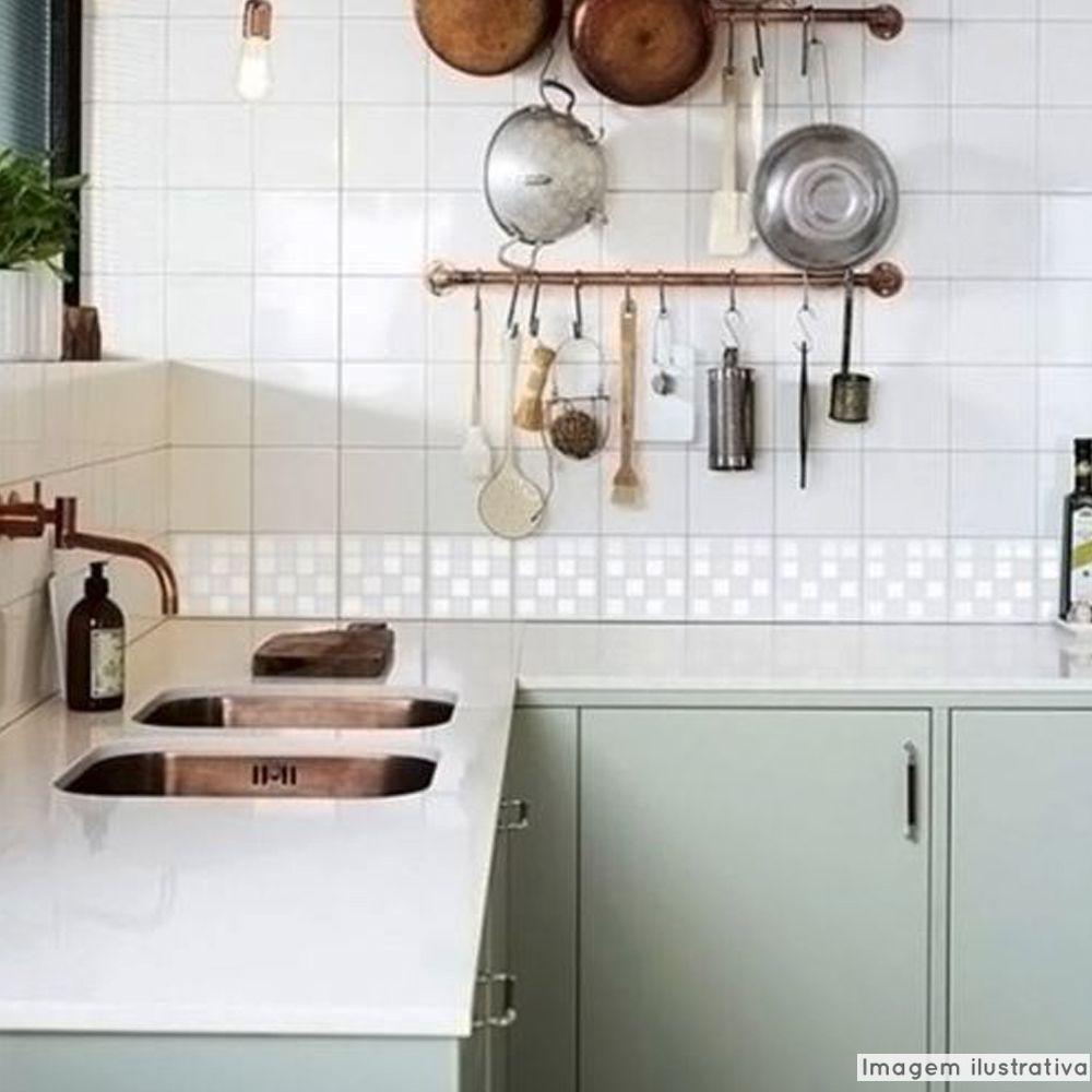 Adesivo Destacável Pastilha para Cozinha Mix Branco  - TaColado