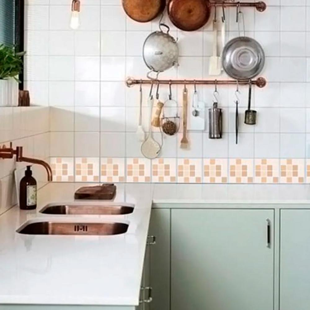 Adesivo Destacável Pastilha para Cozinha Mix Creme  - TaColado