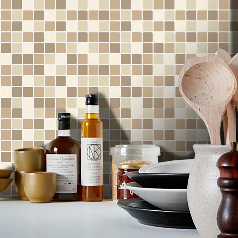 Adesivo Destacável Pastilha para Cozinha Mix Marrom  - TaColado