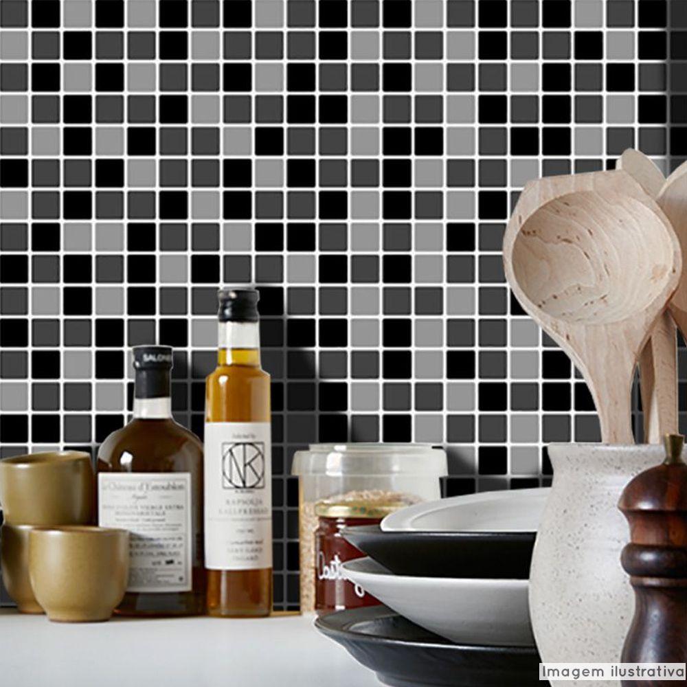 Adesivo Destacável Pastilha para Cozinha Mix Preto  - TaColado
