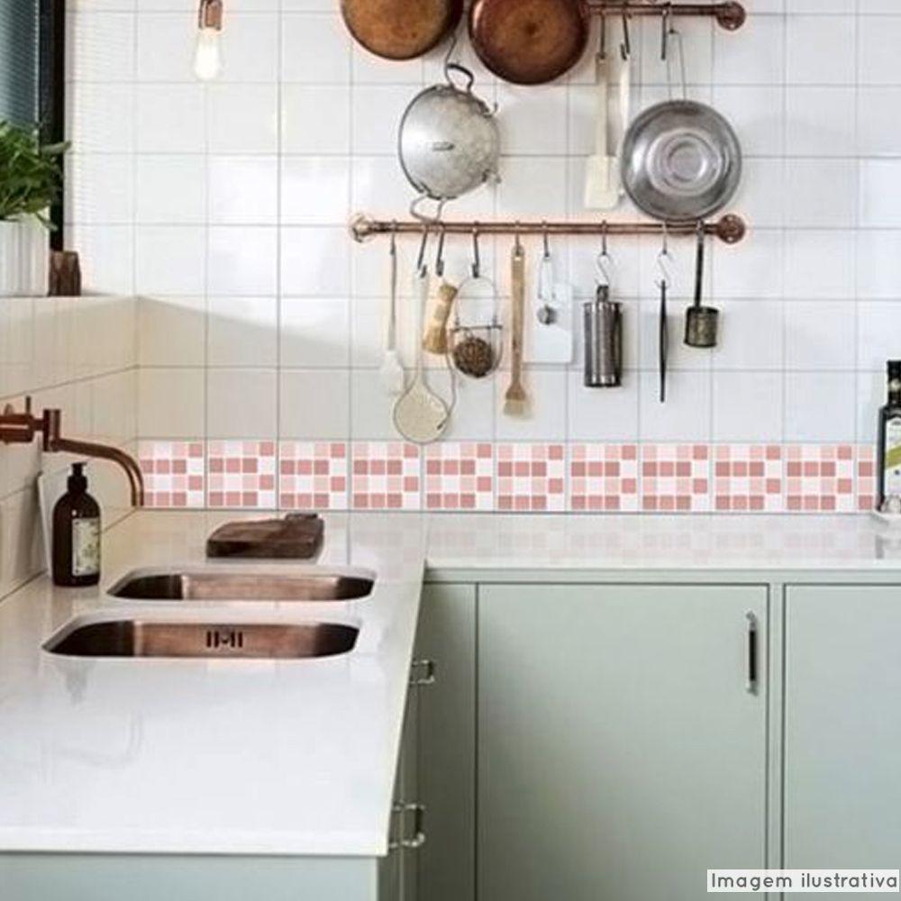 Adesivo Destacável Pastilha para Cozinha Mix Rosa  - TaColado