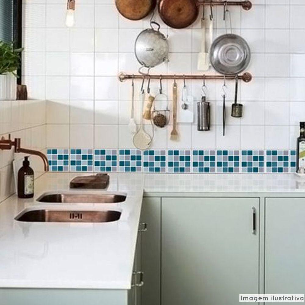 Adesivo Destacável Pastilha para Cozinha Mix Turquesa  - TaColado