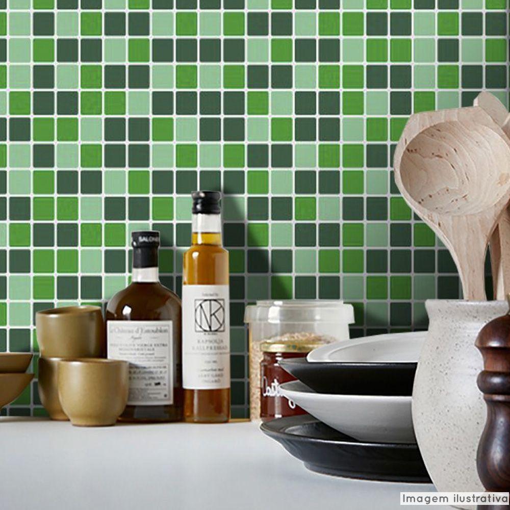 Adesivo Destacável Pastilha para Cozinha Mix Verde  - TaColado
