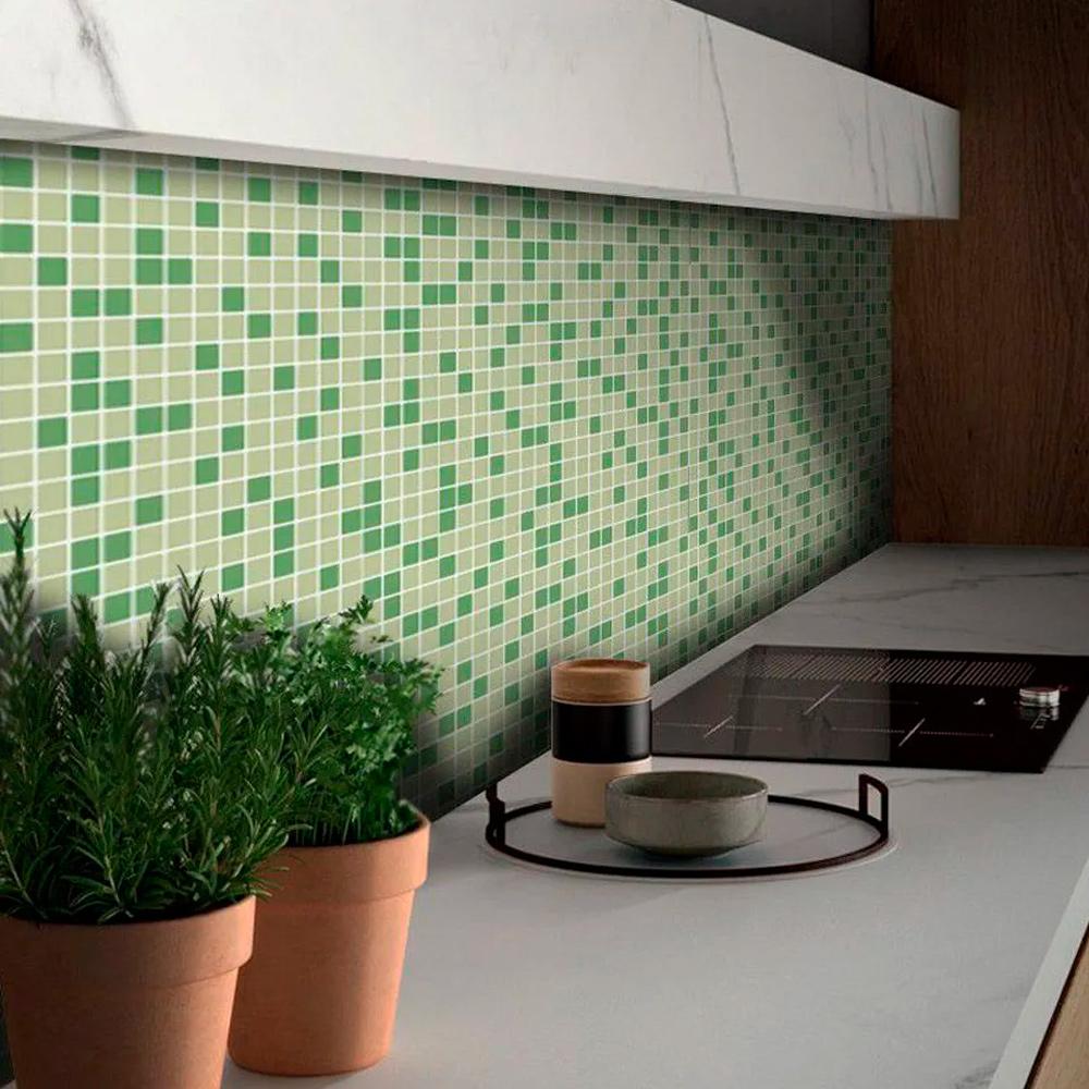 Adesivo Destacável Pastilha para Cozinha Mix Verde Claro  - TaColado