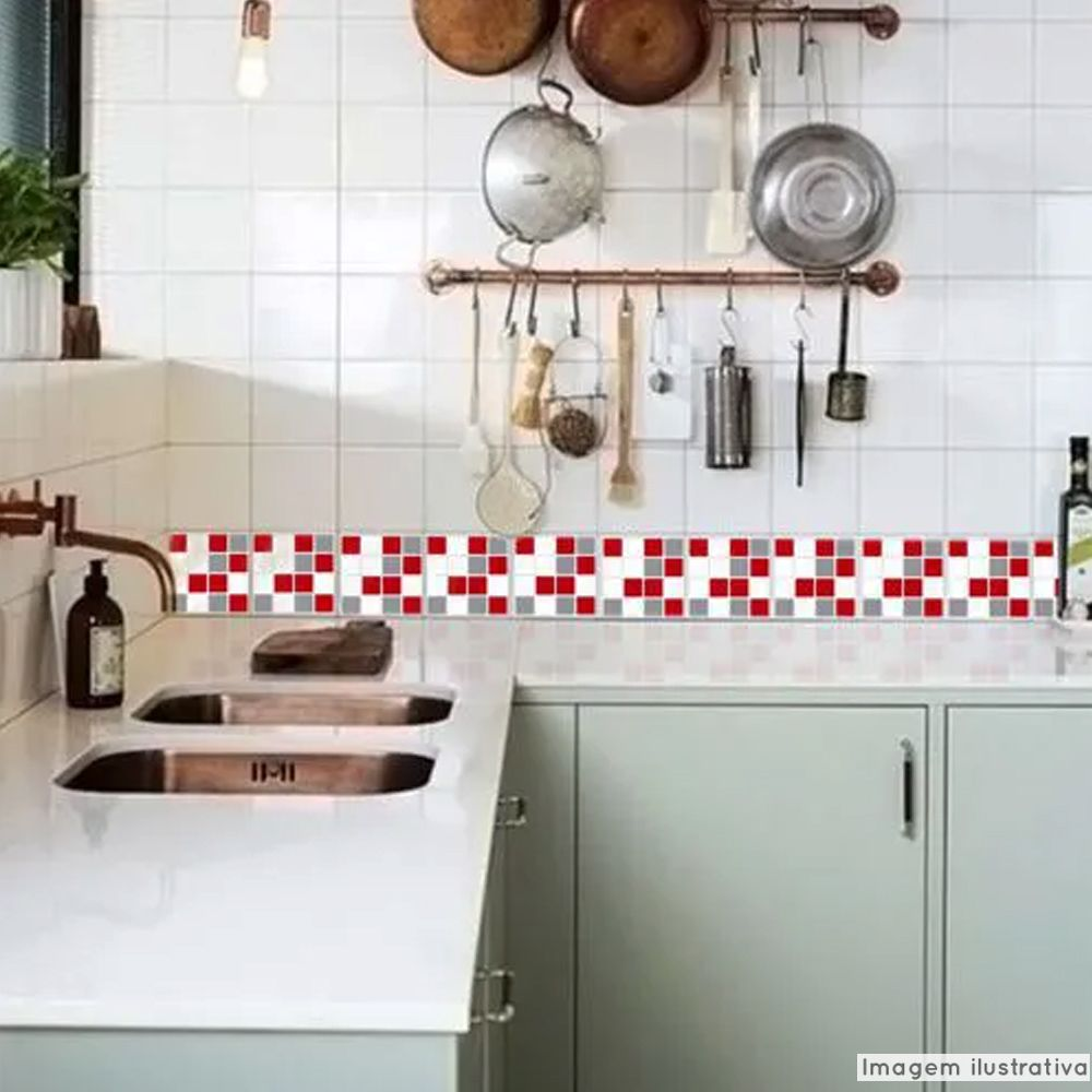 Adesivo Destacável Pastilha para Cozinha Mix Vermelho e Cinza  - TaColado