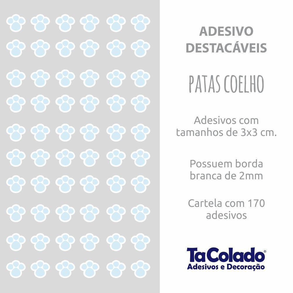 Queima de Estoque - Adesivo Destacável Patas de Coelho Azul  - TaColado