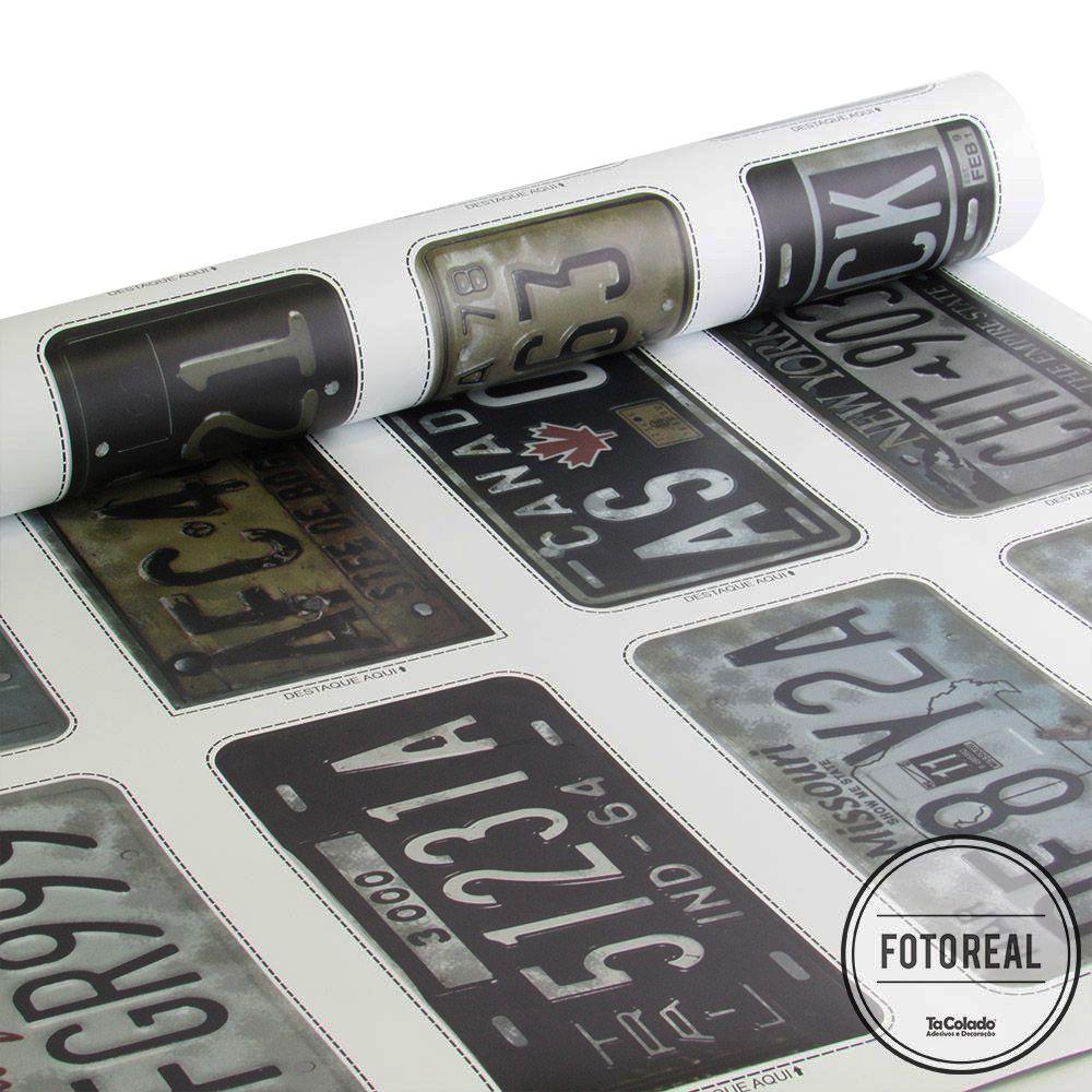 Adesivo Destacável Vintage Placas Automotivas  - TaColado