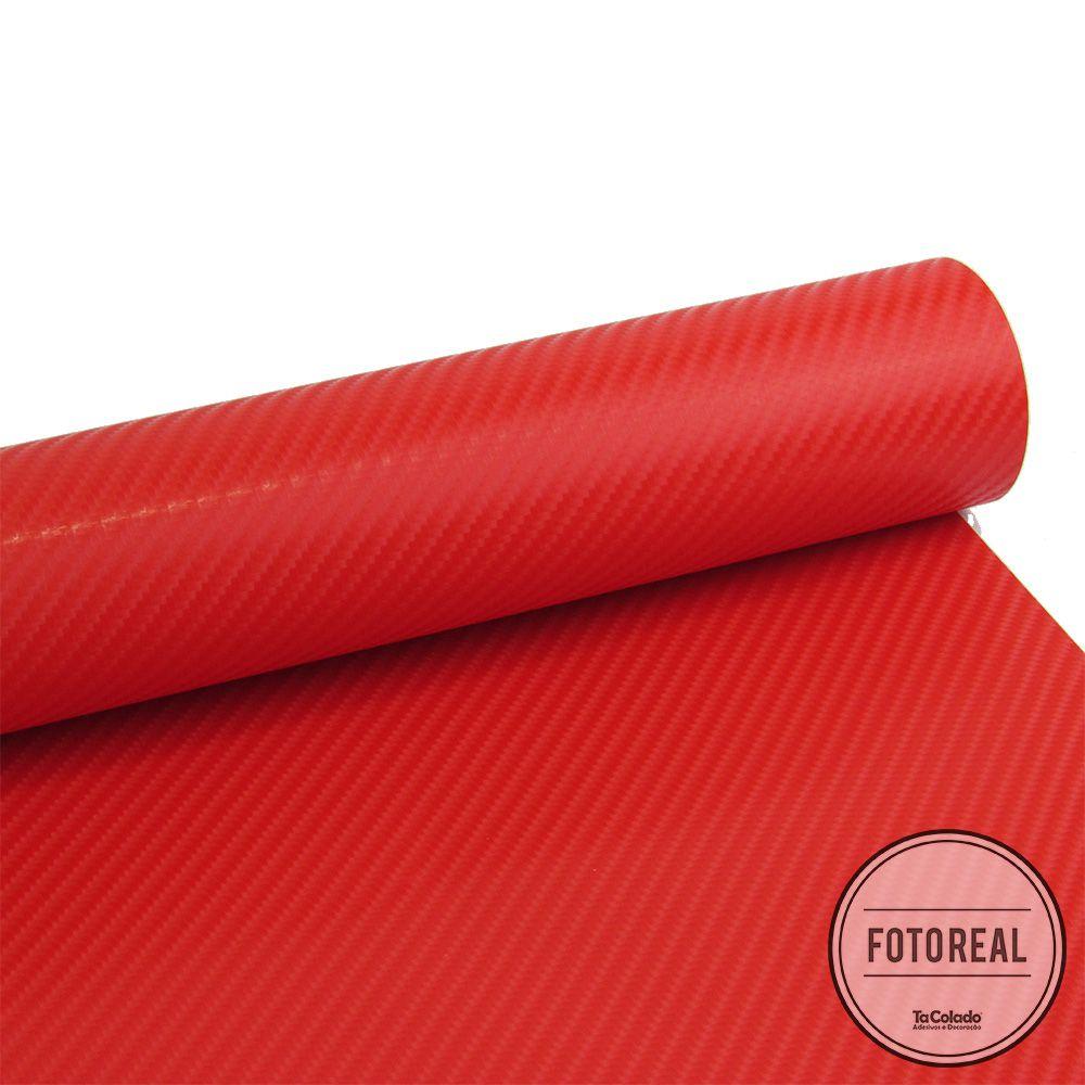 Adesivo para móveis Fibra de Carbono 4D Vermelho 0,50m  - TaColado