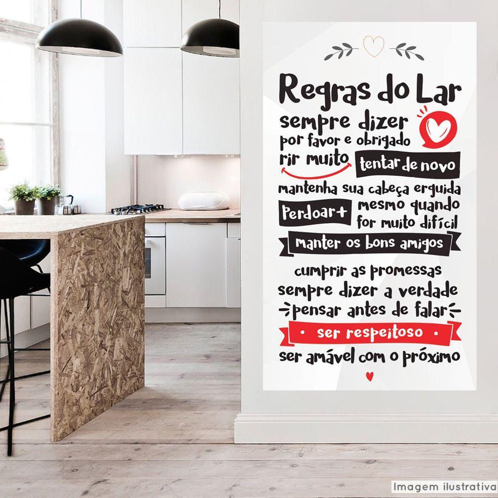 Adesivo Frase Regras do Lar  - TaColado