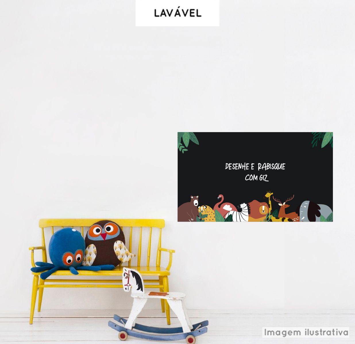 Adesivo Lousa Infantil Animais 0,58x1,00m + Giz Brinde  - TaColado