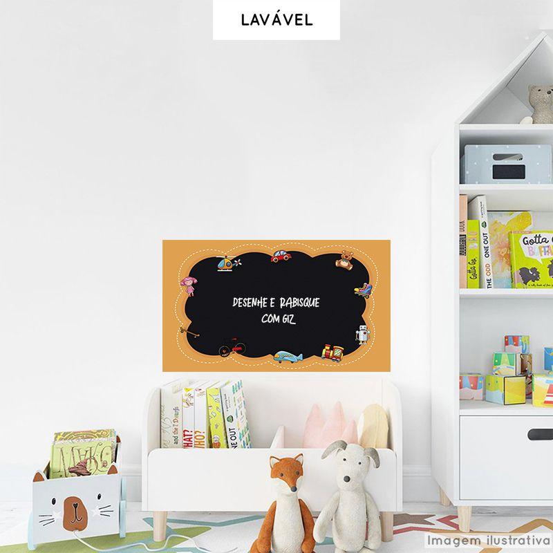 Adesivo Lousa Infantil Brinquedos 0,58x1,00m + Giz Brinde  - TaColado