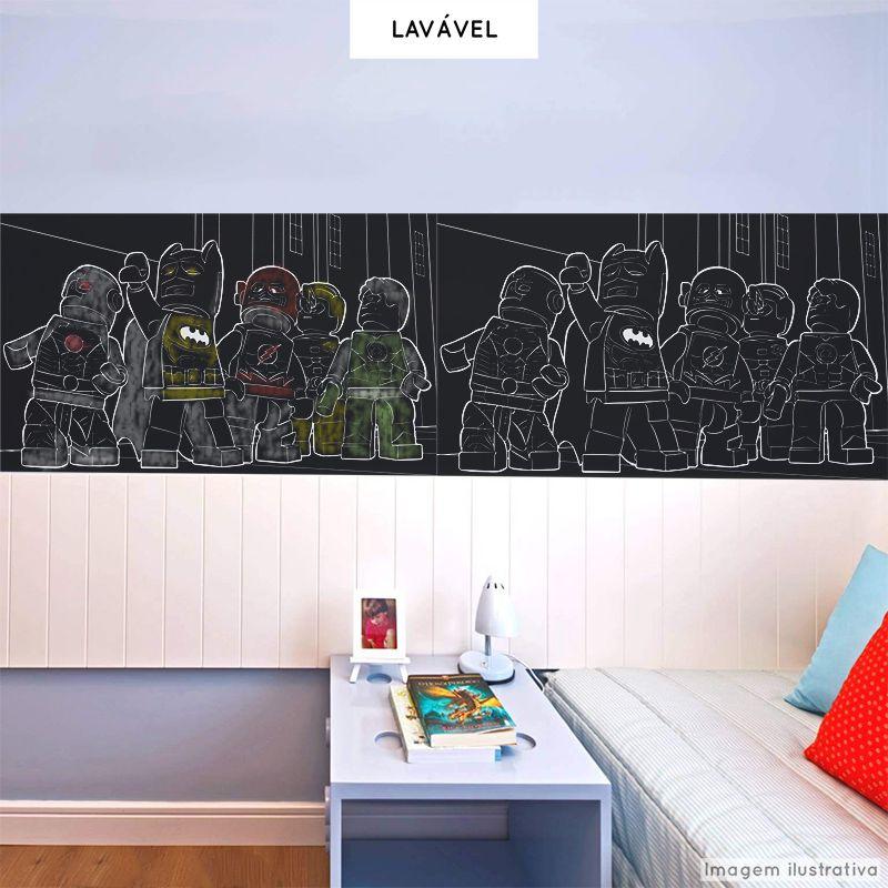 Adesivo Lousa Infantil Heróis 0,58x1,00m + Giz Brinde  - TaColado