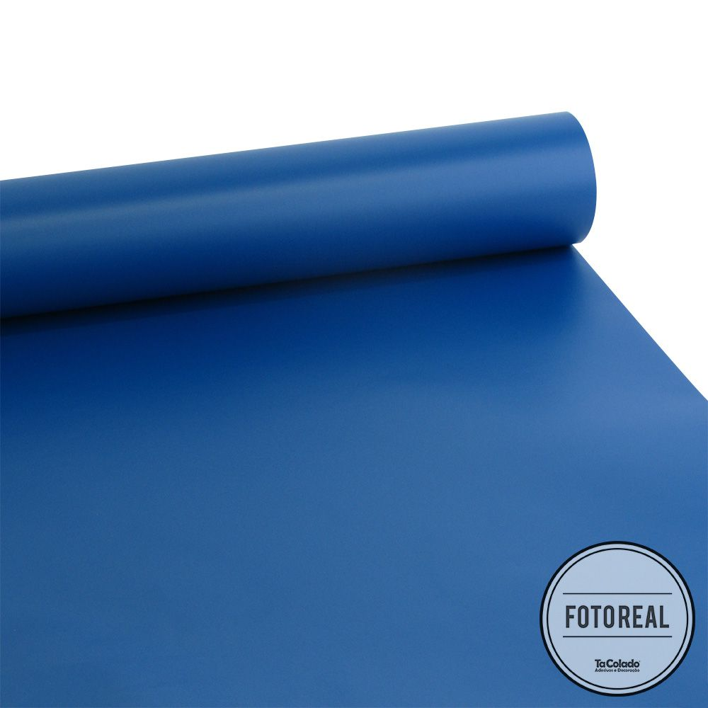 Adesivo Lousa Liso Sem Estampa Azul Indigo 1,00m + Giz Brinde  - TaColado