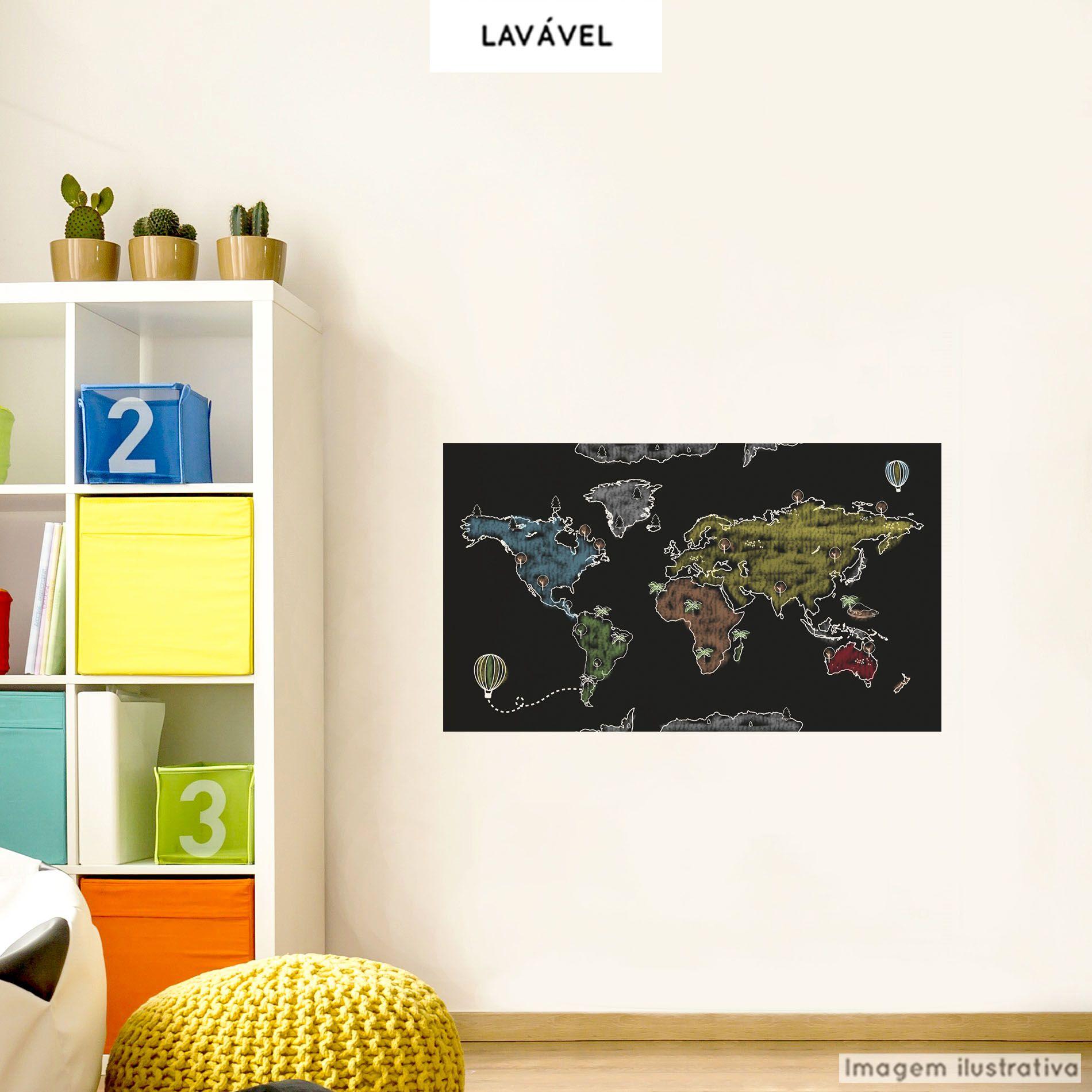 Adesivo Lousa Infantil Mapa 0,58x1,00m + Giz Brinde  - TaColado