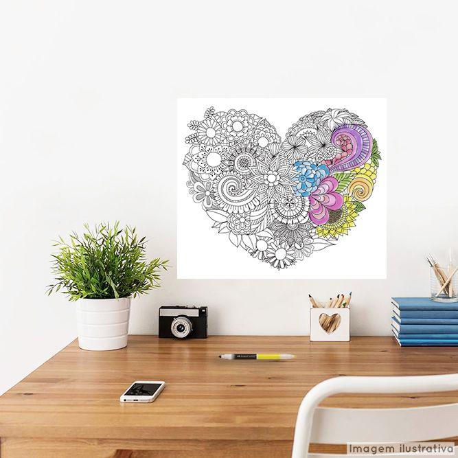 Adesivo para Colorir Coração Florido  - TaColado