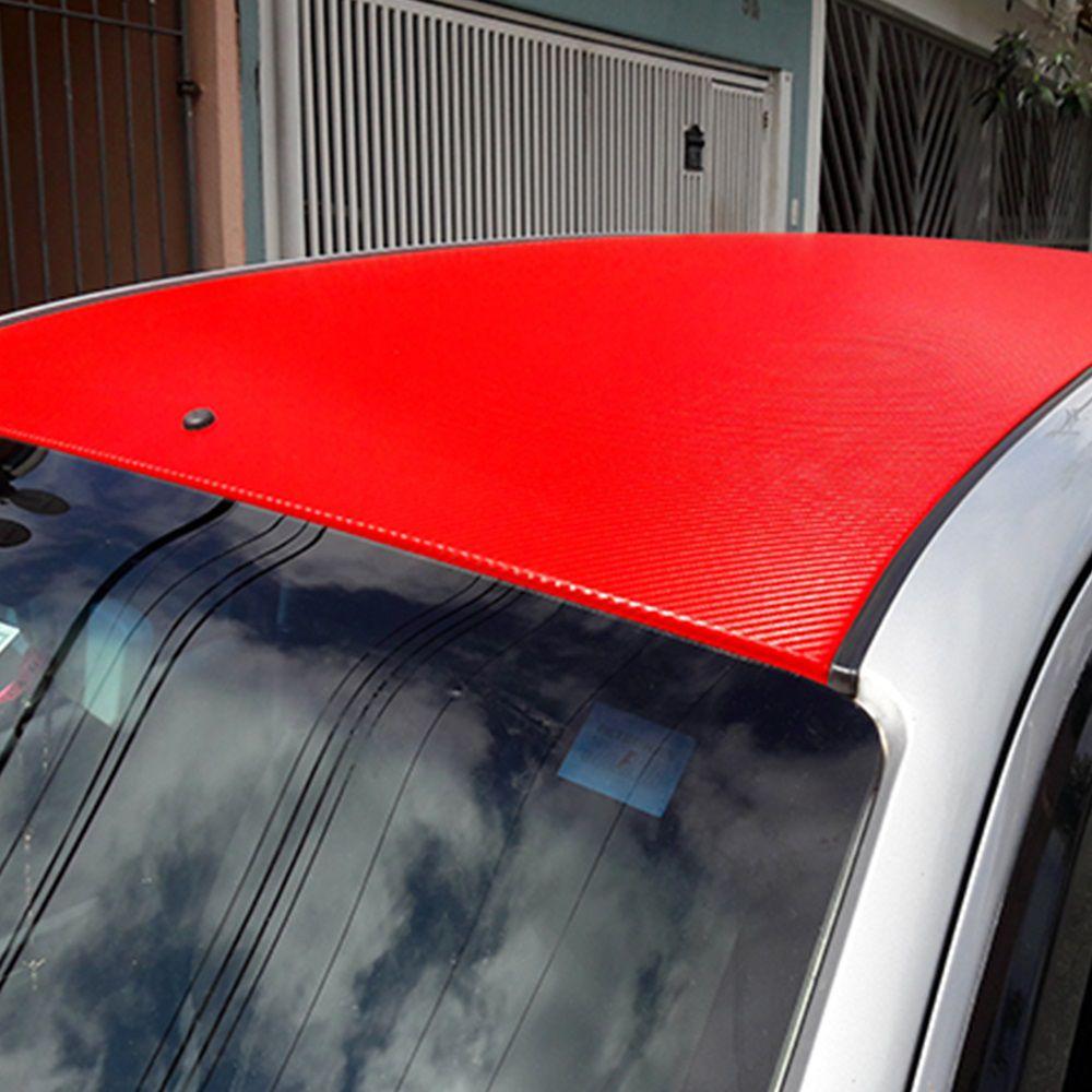Adesivo para envelopamento automotivo Fibra de Carbono Vermelho 0,35m  - TaColado