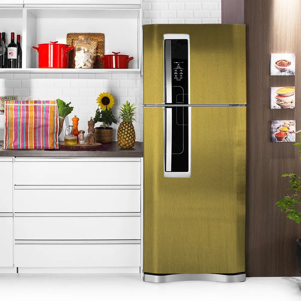 Adesivo para Geladeira Escovado Ouro 1,22m  - TaColado