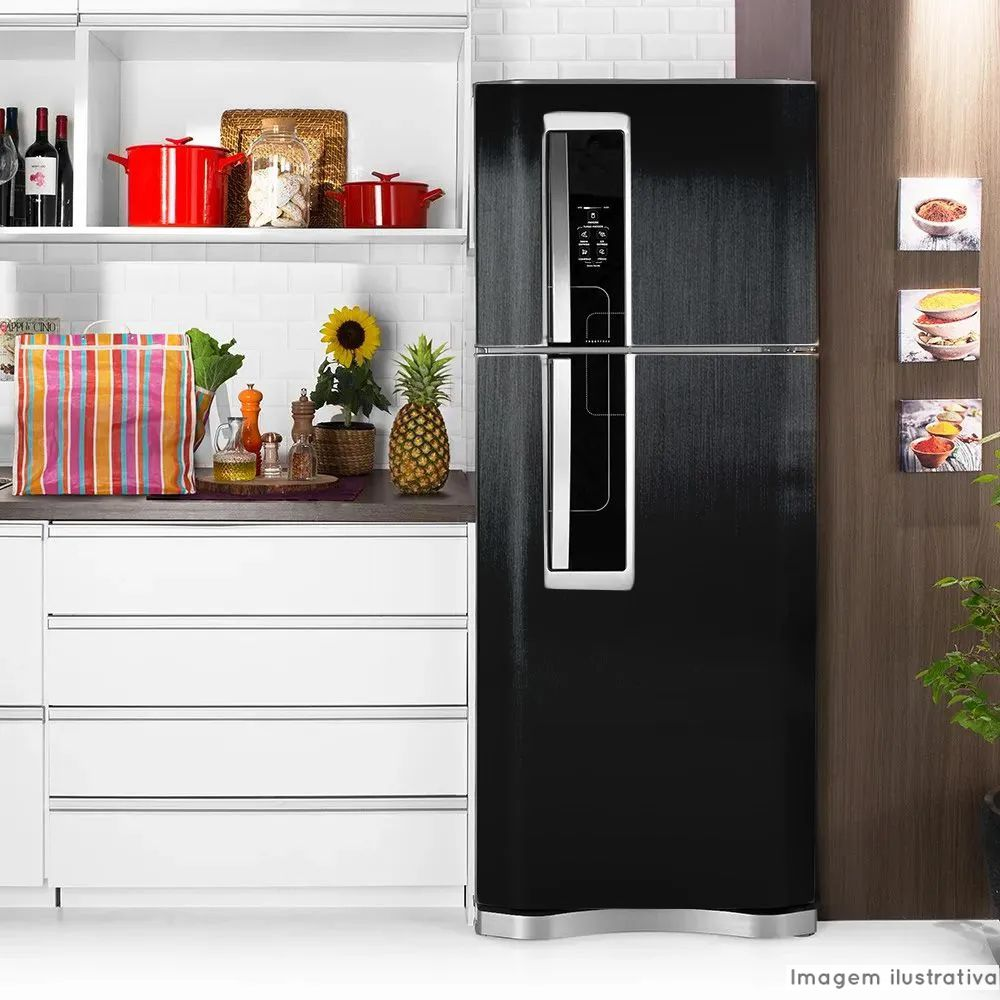 Adesivo para geladeira Escovado Preto 1,22m  - TaColado