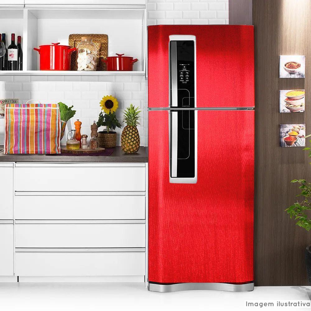 Adesivo para geladeira Escovado Vermelho 1,22m  - TaColado