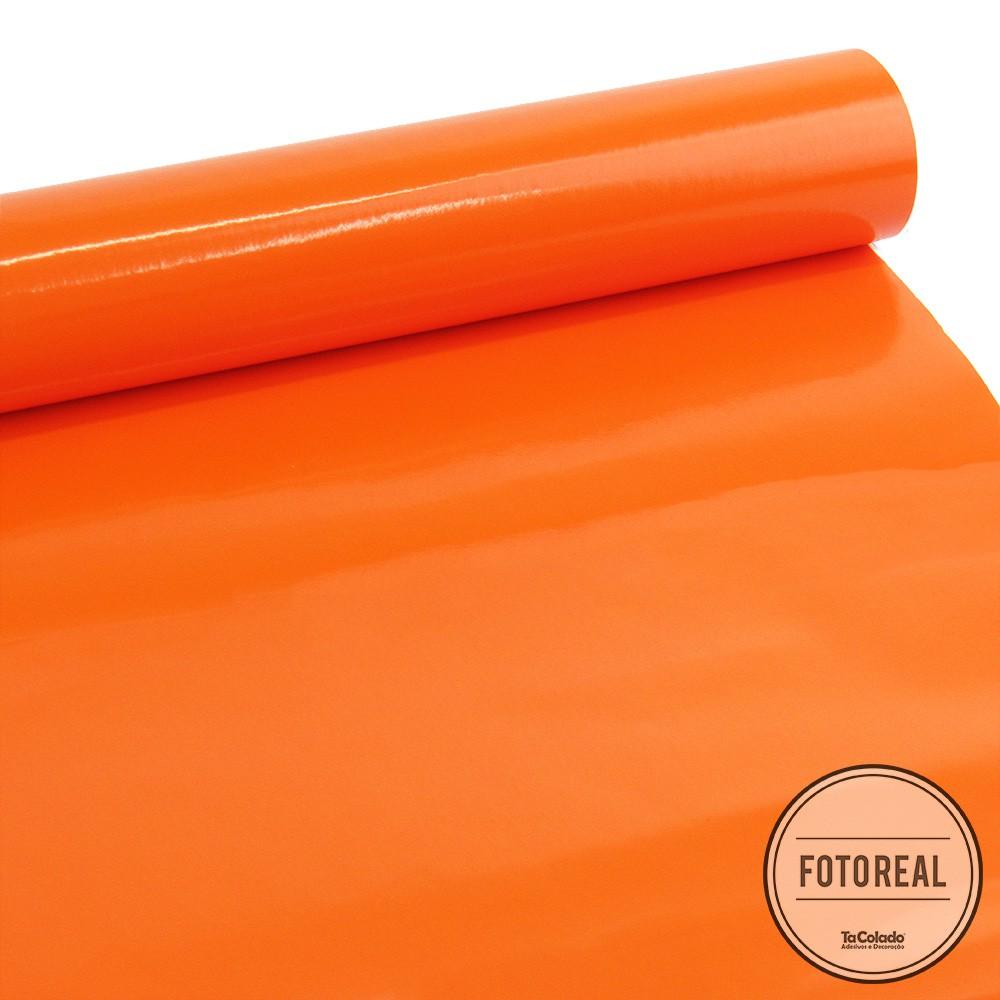 Adesivo para móveis Brilhante Laranja Intenso 0,61m  - TaColado