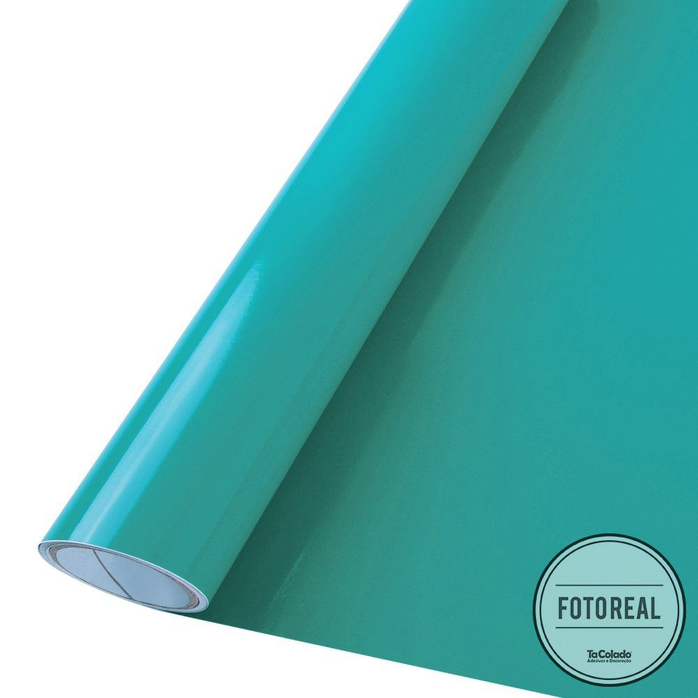 Adesivo para móveis Brilhante Verde Turquesa 0,50m  - TaColado