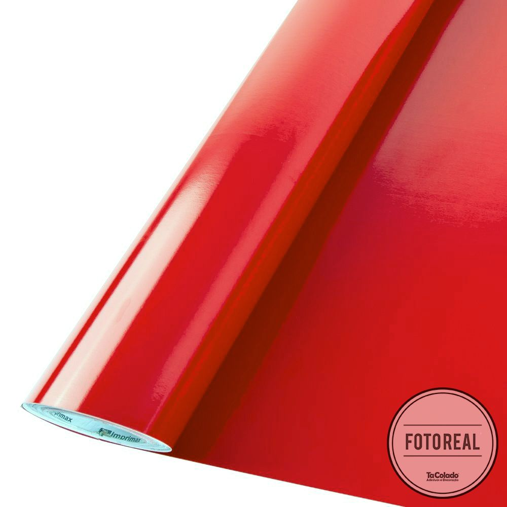 Outlet - Adesivo para móveis Brilhante Vermelho Vivo 0,61m  - TaColado