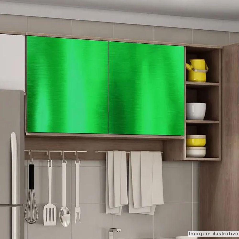 Adesivo para móveis Cromado Verde 0,61m  - TaColado