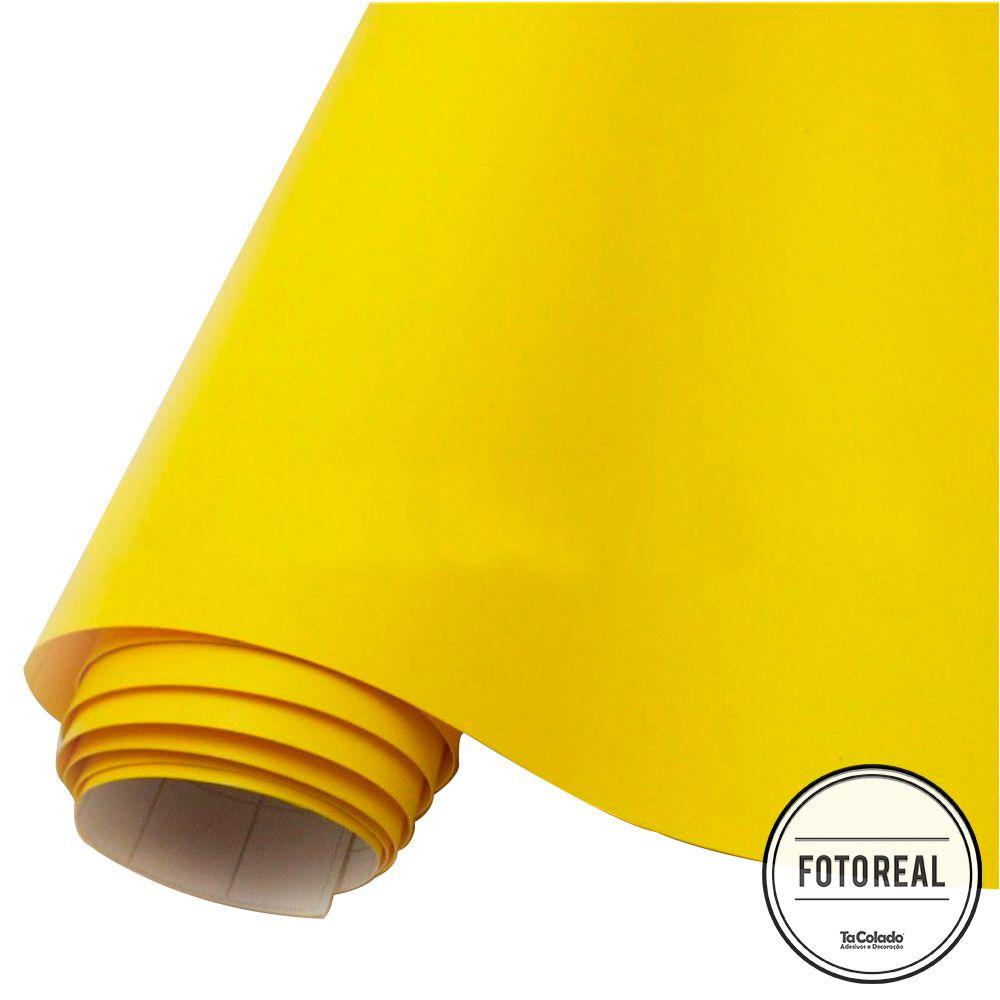 Adesivo para móveis Fosco Amarelo Canário 0,50m  - TaColado