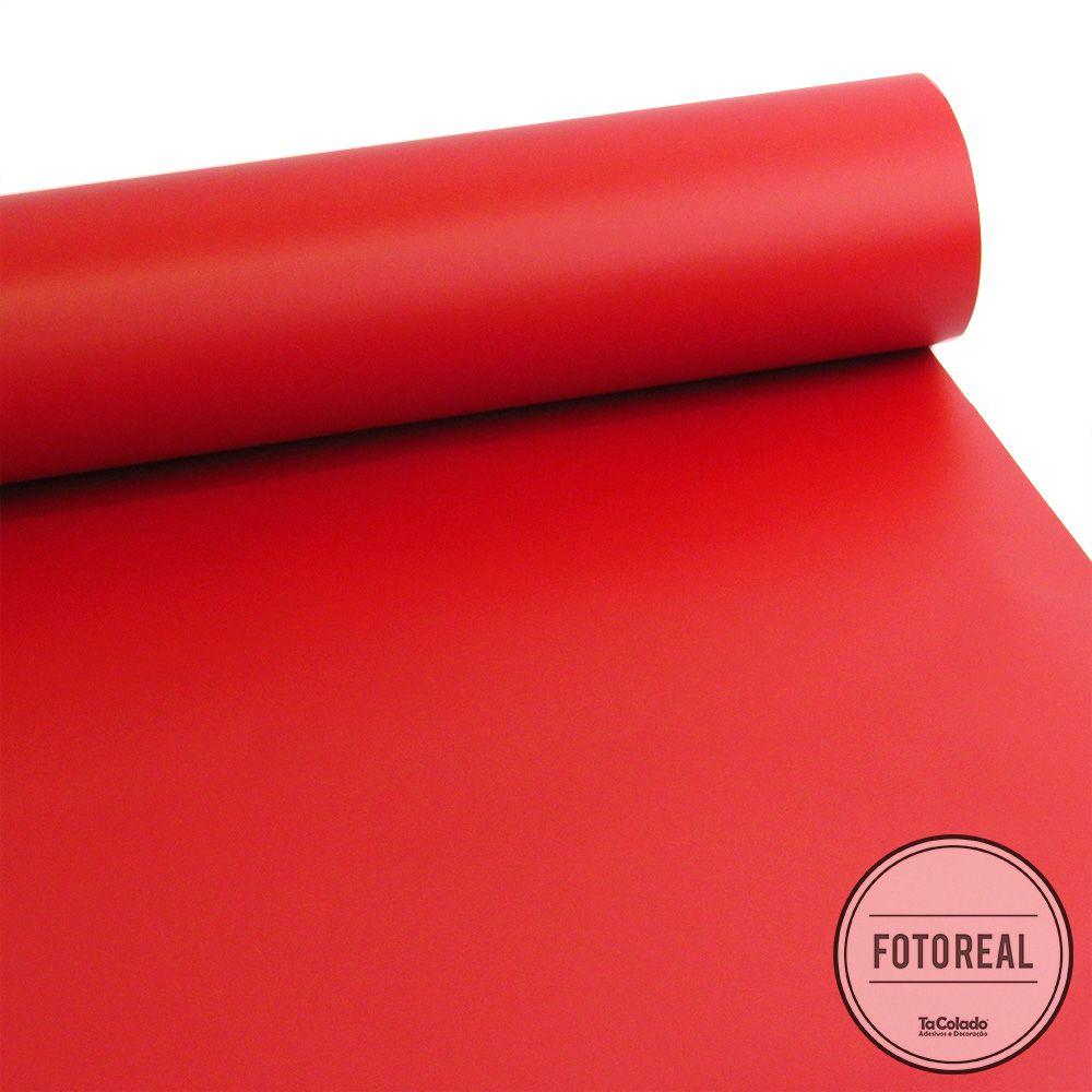 Adesivo para móveis Fosco Vermelho Vivo 0,50m  - TaColado