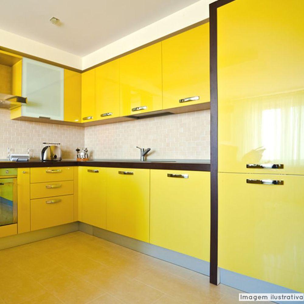 Adesivo para móveis Laca Alto Brilho Lime Yellow 0,61m  - TaColado