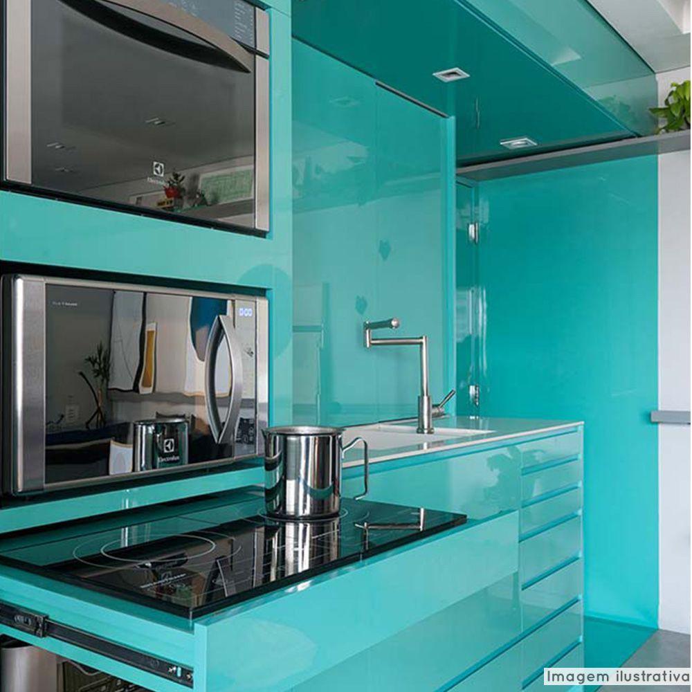 Adesivo para móveis Laca Alto Brilho Turquoise Green 0,61m  - TaColado